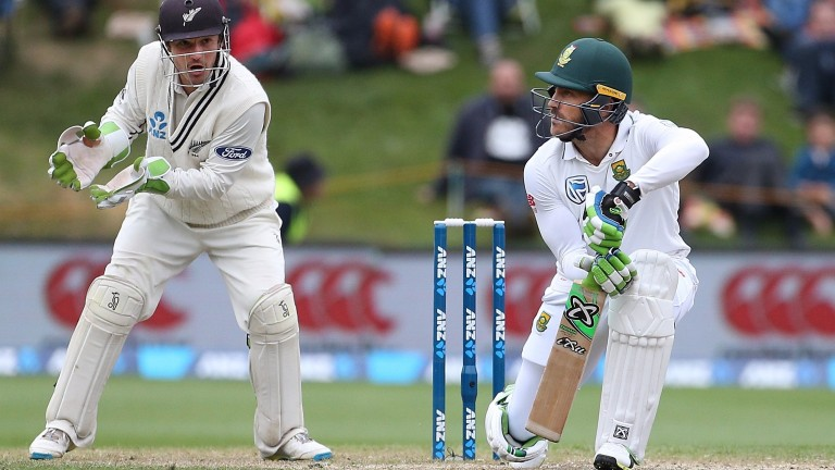 Faf du Plessis plays the spinners watchfully in Dunedin
