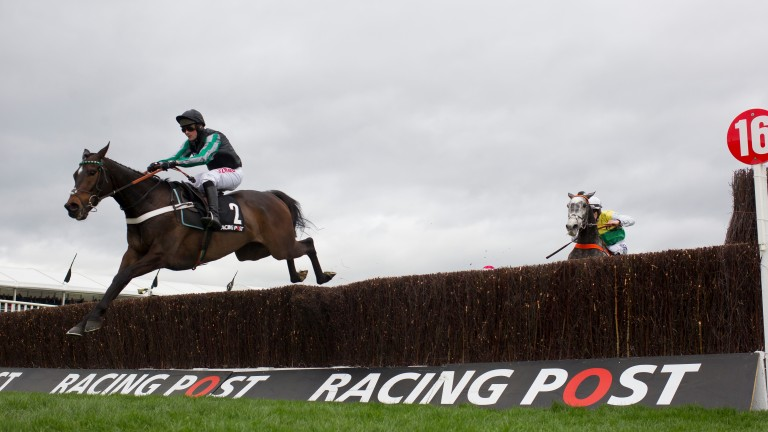 Altior on his way to winning the Grade 1 Arkle Chase at Cheltenham
