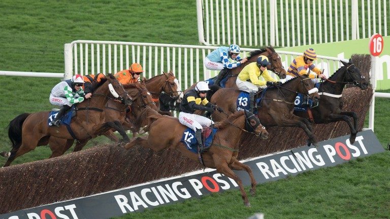 Tully East (yellow, number 13) jumps the last on the way to victory in the Close Brothers Novices' Handicap Chase