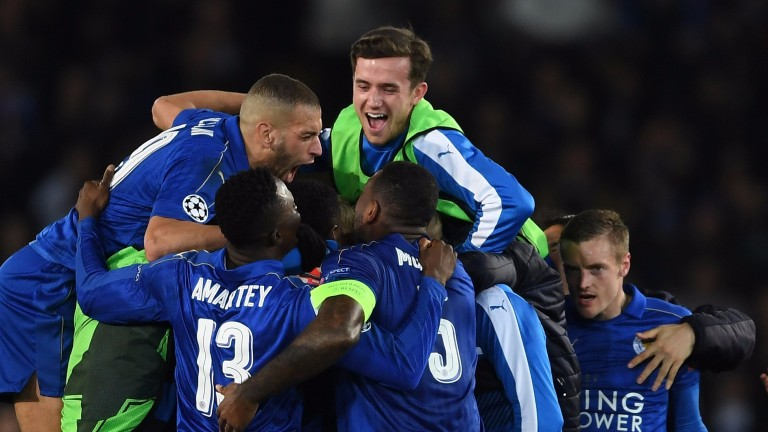 Leicester celebrate their win over Seville
