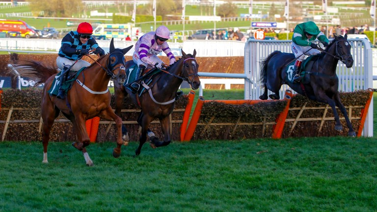 Flying Tiger (right): picks up Divin Bere (centre) and Nietzsche (left) to win the Fred Winter