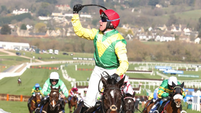 Supastar - Robbie Power celebrates winning the Coral Cup aboard Supasundae
