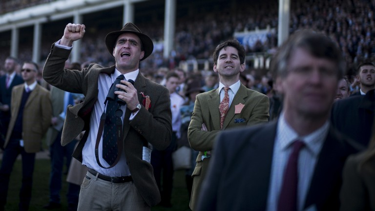 Roaring them home: a punter gets excited as the action unfolds in the Fred Winter