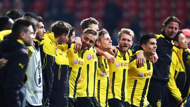 Borussia Dortmund celebrate reaching the German Cup semi-finals