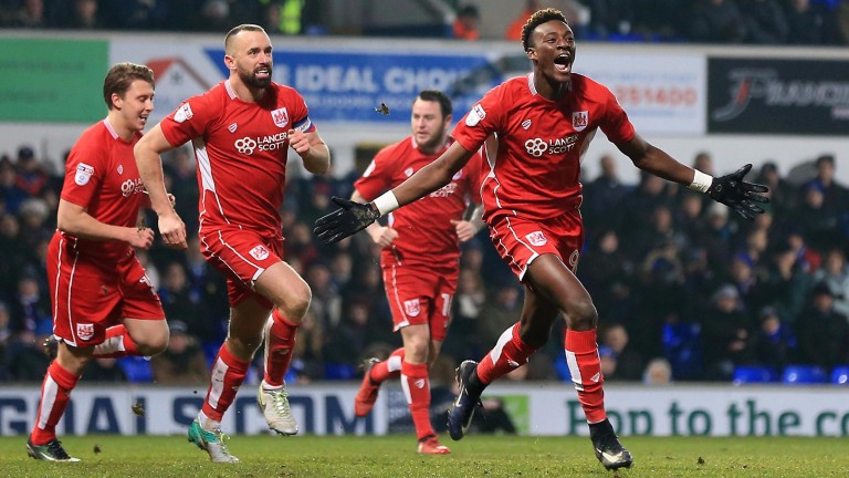 Bristol City's Tammy Abraham celebrates one of his 18 league goals