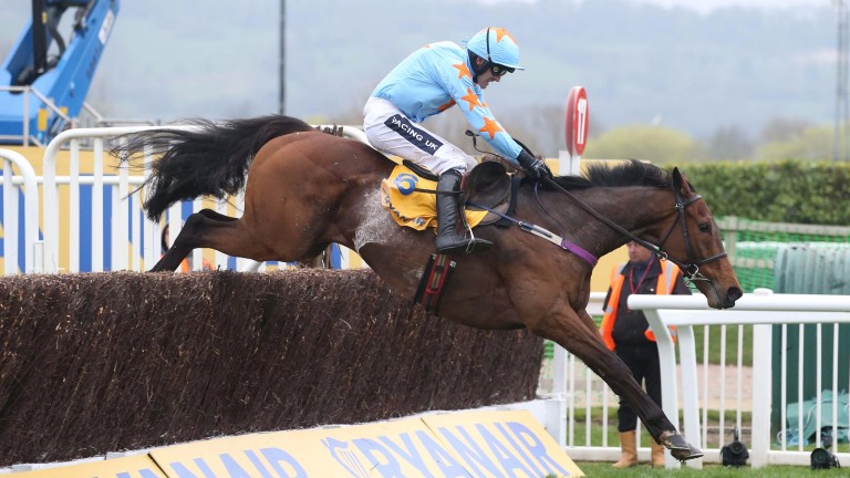 Un De Sceaux and Ruby Walsh fly a fence on the way to winning the Ryanair Chase
