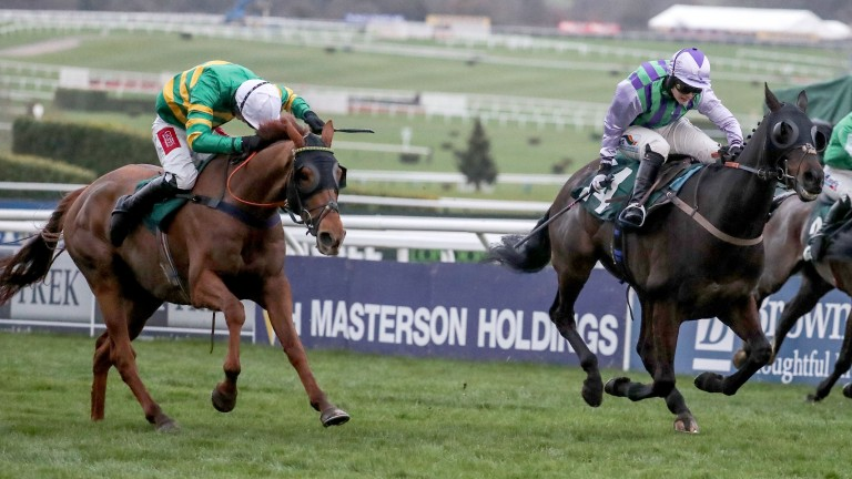 Pendra (left) was just edged out in the Kim Muir having jumped the last in front