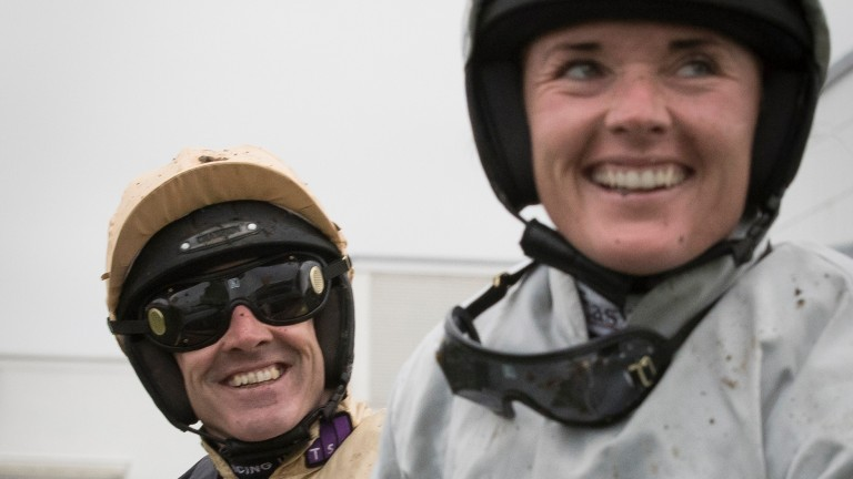 all smiles: Ruby Walsh looks over to sister Katie, who finished sixth to him in the Stayers' Hurdle on Clondaw Warrior