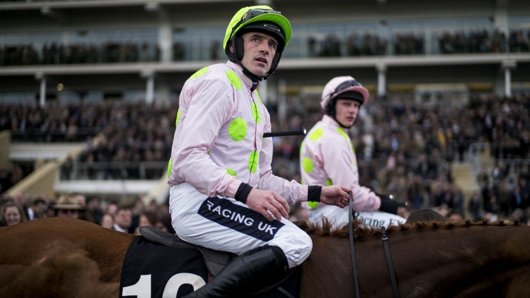 Ruby Walsh and Paul Townend watch a replay of the Mares' Hurdle after defeat by Apple's Jade