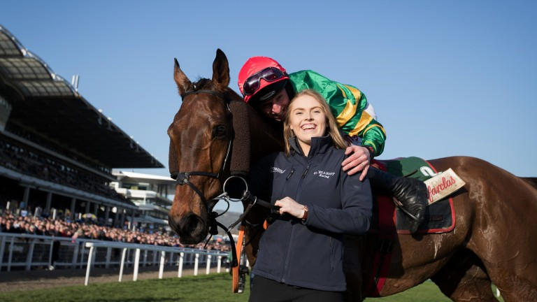 Jamie Codd and Georgie Benson celebrate Cause Of Causes' Cross Country Chase win
