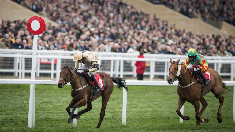 Nichols Canyon and Ruby Walsh cross the finish line to land the Stayers' Hurdle from Lil Rockerfeller