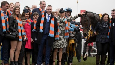 Members of the O'Connell family with Un de Sceaux after his win in the Ryanair Chase