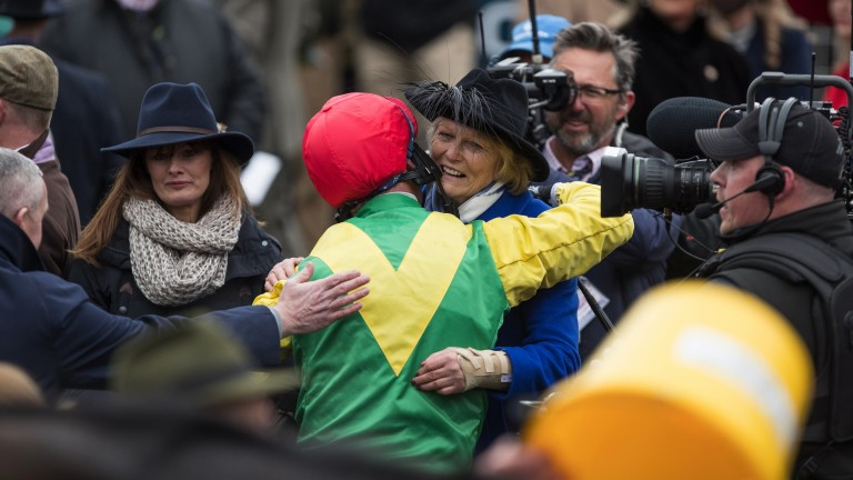 Dream team: Robbie Power and Jessica Harrington embrace after they teamed up to win the Gold Cup with Sizing John