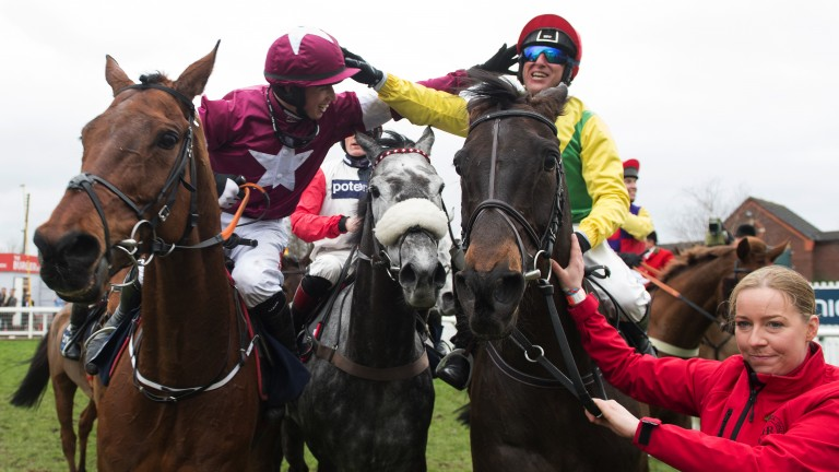 Sportsmanship: Bryan Cooper congratulates Robbie Power after Sizing John won the Gold Cup