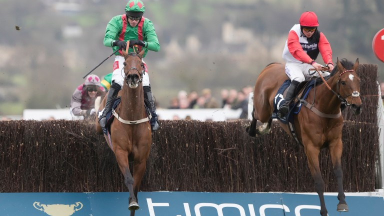 Pacha Du Polder and Bryony Frost (right) jump the last with Balnaslow before powering to victory in the Foxhunter
