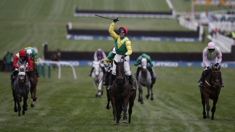 Golden moment: Robbie Power celebrates his festival victory on Sizing John