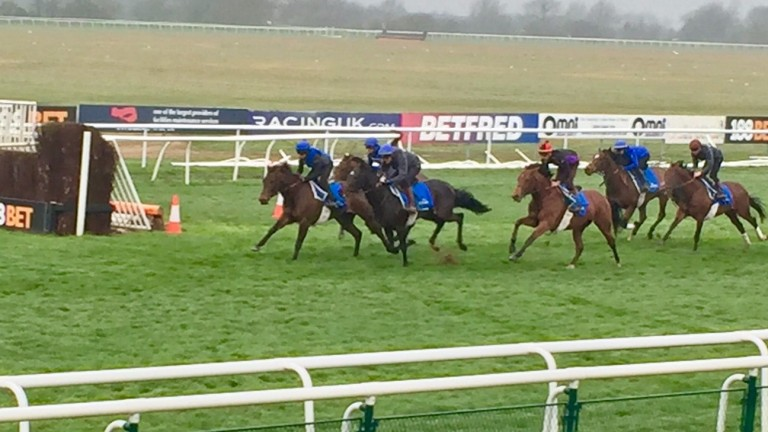 Godolphin workers gallop by the open ditch at Huntingdon