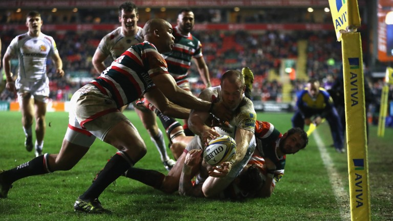 Exeter winger James Short is tackled short of the line against Leicester