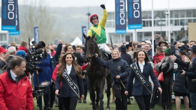 Robbie Power celebrates landing the Timico Gold Cup on Sizing John for Jessica Harrington