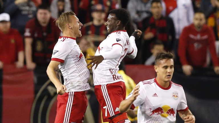 Derrick Etienne (centre) has made a bright start to his Red Bulls career