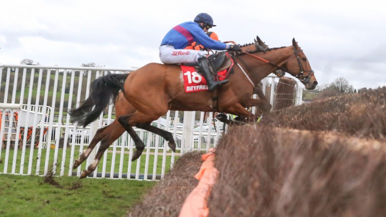 Chase The Spud (Paddy Brennan) on his way to victory in the Betfred Midlands Grand National