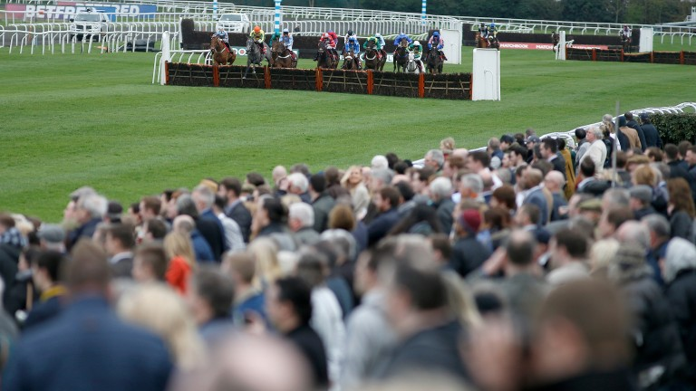 Racegoers watch the action at Kempton on Saturday. with the course's future having been under discussion at a Jockey Club meeting last week