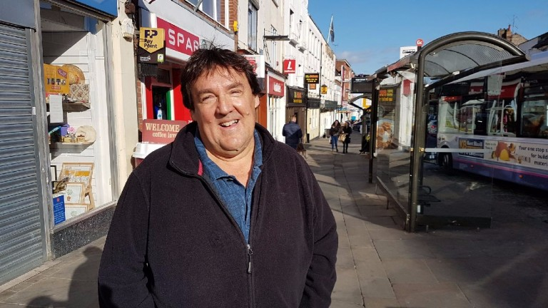 Richard Melia, a 56-year-old driver, pictured on Sunday in his hometown of Colchester