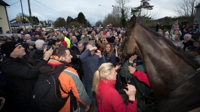 God Cup winner Sizing John is paraded through his home village of Moone.