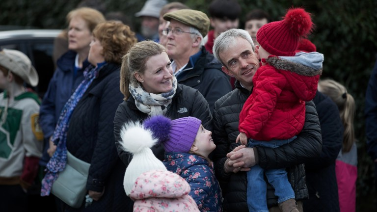 Famous face: Ruby Walsh and his family were among the crowd waiting to see the Gold Cup hero