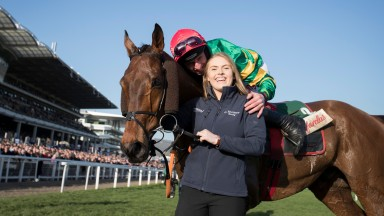 Georgie Benson and Jamie Codd celebrate victory with Cause Of Causes last year