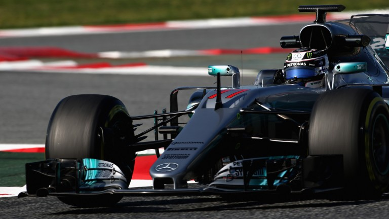 Valtteri Bottas puts the new Mercedes through its paces in testing