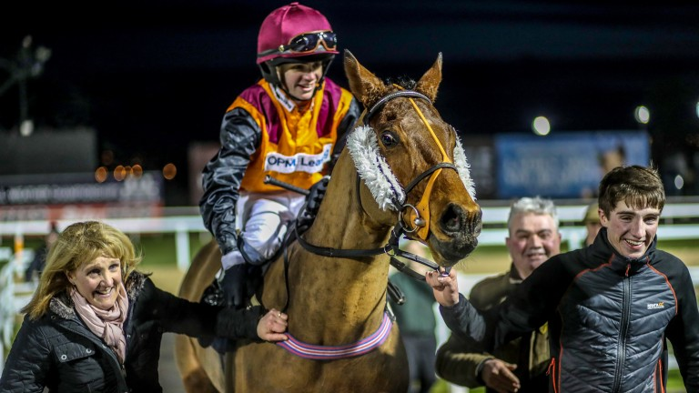 Connor Murtagh returns triumphant on Symbolic Star at Newcastle, flanked by mother Sue, brother Lorcan and father Barry