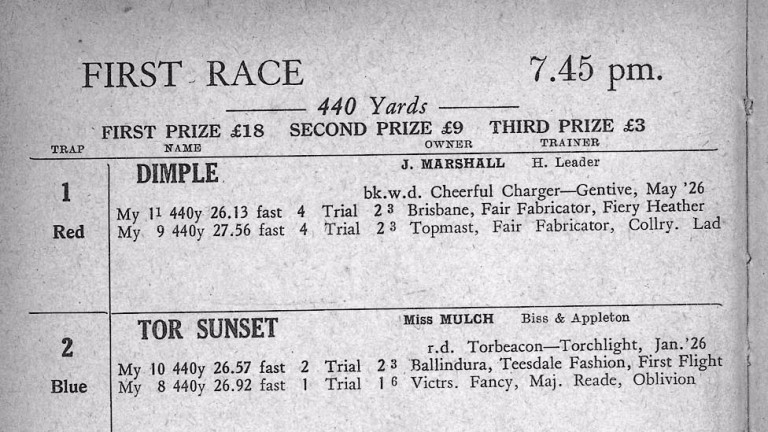 How it all started: the racecard from the first meeting at Wimbledon in 1928