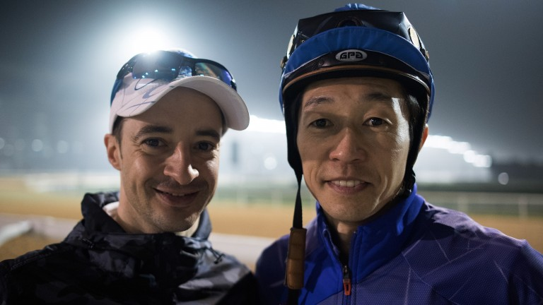 Two of a kind: Christophe Lemaire (left), who is based in Japan, with that country's most famous jockey Yutaka Take
