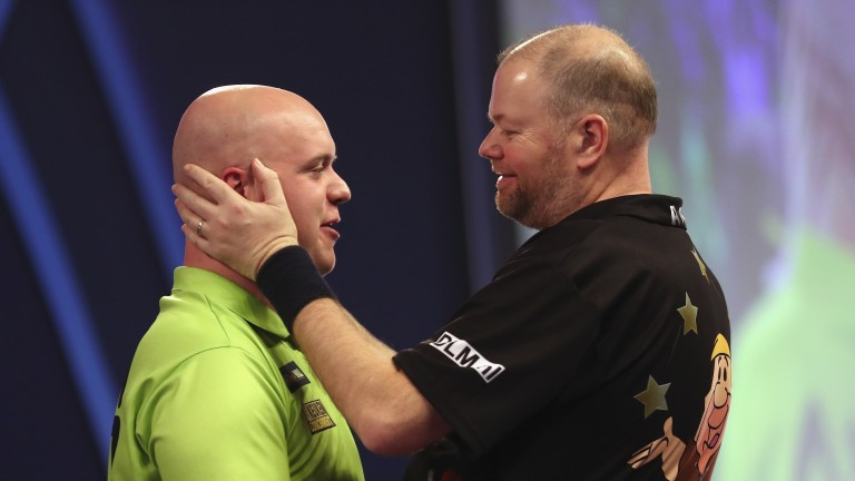 Raymond van Barneveld (right) will test compatriot Michael van Gerwen