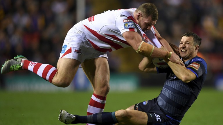 Leigh's Danny Tickle fronts up to Leeds captain Danny McGuire