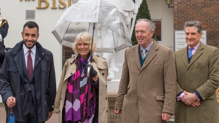The Duchess of Cornwall is accompanied by Sheikh Fahad Al Thani (left), Julian Richmond-Watson and Justin Wadham (right) on the Rowley Mile