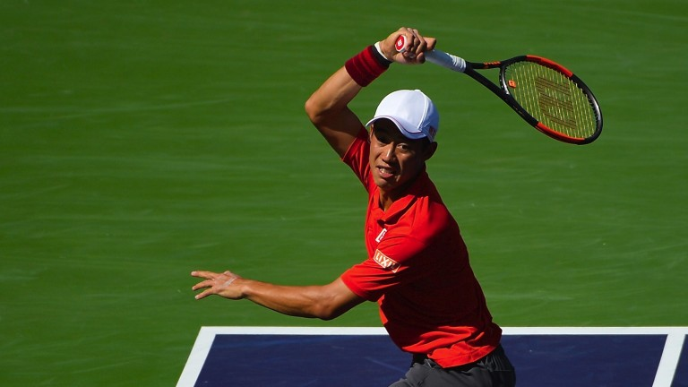Kei Nishikori in action at Indian Wells