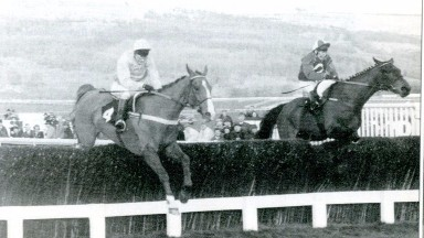 Raymylette and Mick Fitzgerald (near side) on their way to festival success in the 1994 Cathcart Chase