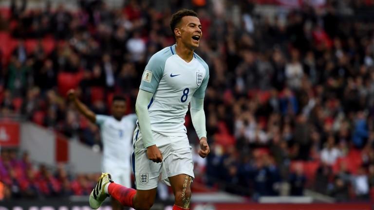 Dele Alli celebrates his goal for England against Malta