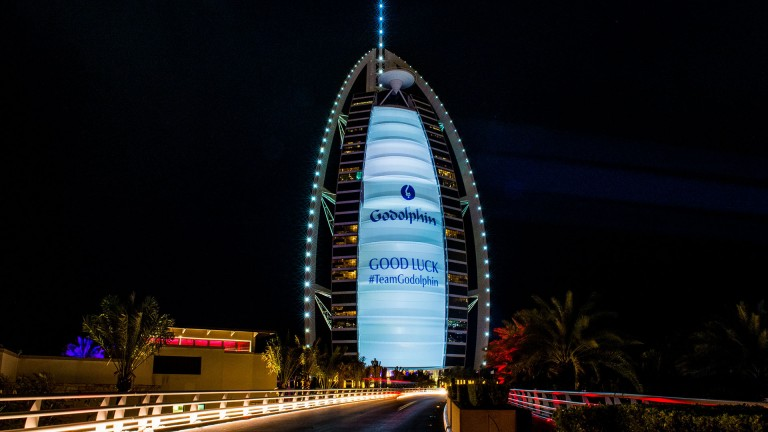 The Burj-Al-Arab lights up in support of Godolphin