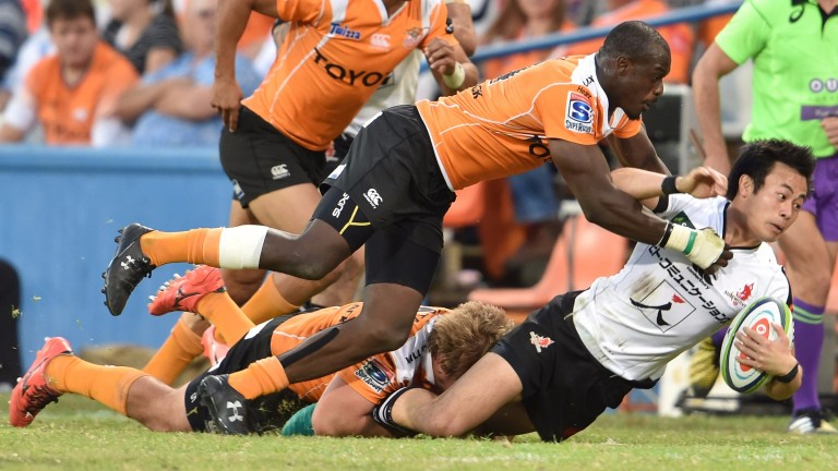 Kenki Fukuoka of the Sunwolves (right) is in action against the Stormers