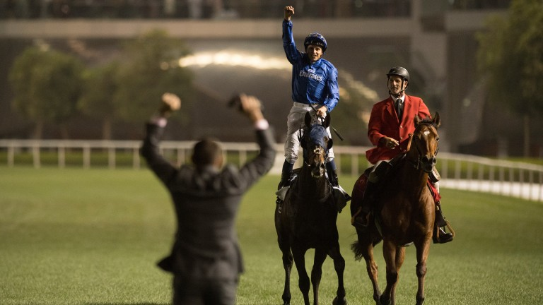 William Buick celebrates Sheema Classic victory aboard Jack Hobbs