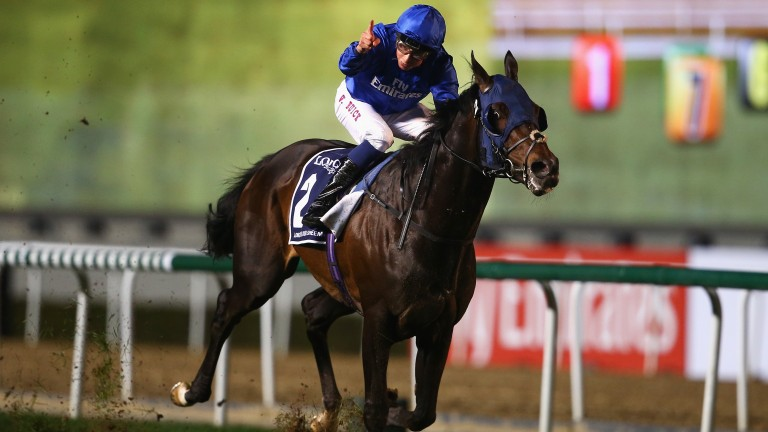 DUBAI, UNITED ARAB EMIRATES - MARCH 25: William Buick riding Jack Hobbs wins the Longines Dubai Sheema Classic during the Dubai World Cup at the Meydan Racecourse on March 25, 2017 in Dubai, United Arab Emirates.  (Photo by Francois Nel/Getty Images)