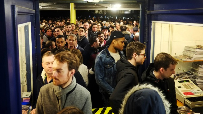 Big turnout: punters flood through the turnstiles on the final night of racing at the track