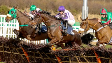 Modulus (green headgear) and Ryan Winks on their way to victory at Newcastle earlier this month