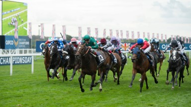 Yuften (green silks, centre) is well on top in the Balmoral Handicap. Morando (stars on sleeves, second from left) finishes seventh.