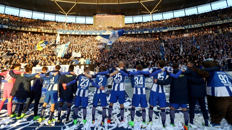 Hertha Berlin celebrate their win over Borussia Dortmund