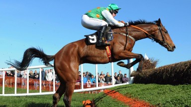 Portrush PTP 25-3-17 SOME MAN & Rob James jump the last to win the 4YO Maiden Race.(Photo HEALY RACING)