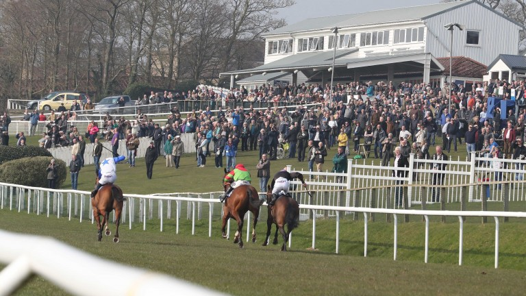 Bruichladdich ridden by Henry Brooke (blue and white) wins at Hexham
